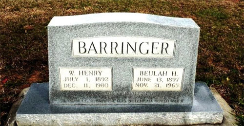 Robert Henry Barringer marker
